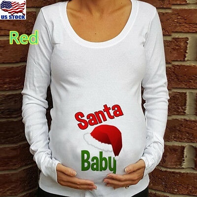 Pregnant Women Long Sleeve Christmas Print Maternity Funny Tops Casual Blouse US