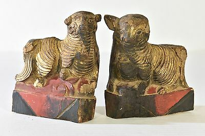 Pair of Antique Chinese Red Gilt Wood Carving / Carved Statue /Auspicious Animal