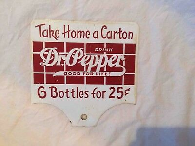 Vintage Take Home a Carton Dr Pepper 2 Sided Sales Rack Advertising Soda Sign