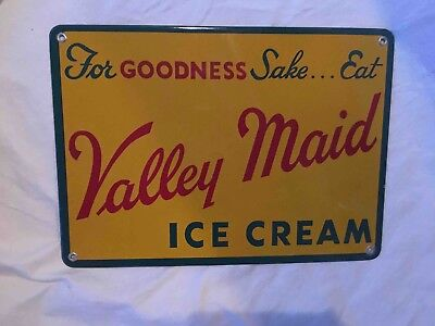 Vintage Eat Valley Maid Ice Cream Porcelain Advertising Sign