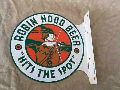 Vintage Robin Hood Beer Hits The Spot Double Sided Advertising Flange Sign