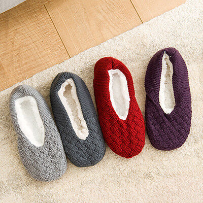 Women Soft Low Cut Warm Cotton Socks Non Slip Ankle Knitted Wool Slippers Socks