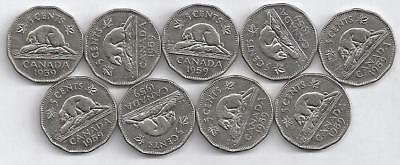 Lot of 9 Old Canadian Nickels All 1959