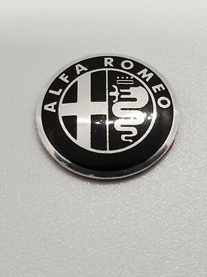 2x Alfa Romeo Black & White 15mm Key Fob Sticker Badge Emblem Logo 159 MiTo GT