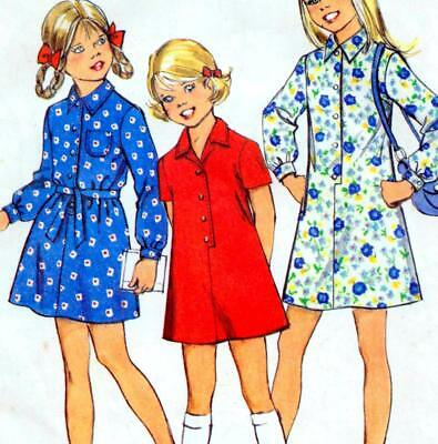 "Vintage 70s GIRLS DRESS Sewing Pattern Size 12 Chest 30"" RETRO Shirtdress"