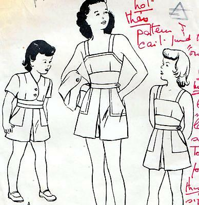Vintage 40s GIRLS PLAYSUIT Shorts TOP Jacket Sewing Pattern Sz 4 RETRO Beachwear