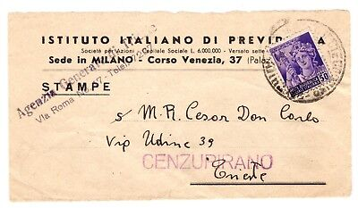 Italy Italian Trieste AMG VG Front Yugoslavia Censor Zone A to B 1945 RSI Stamp