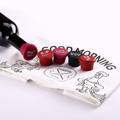 5 Packs Wine Bottle Stopper & Washable Tea Dish Towel Natural Cotton for Party