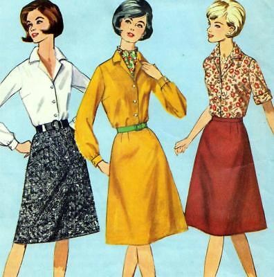 "Vintage 60s Mod A-LINE SKIRT & BLOUSE Sewing Pattern B 39"" Waist 33"" Sz 16 RETRO"
