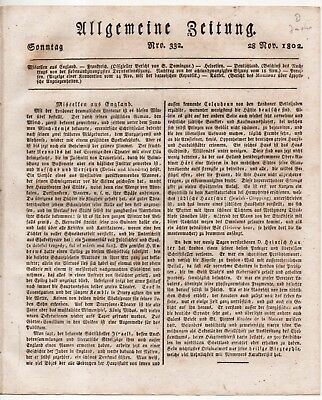ZEITUNG 1802 JUDEN in ENGLAND Reichsdeputation Konvention HOLLAND - PREUßEN(Gren