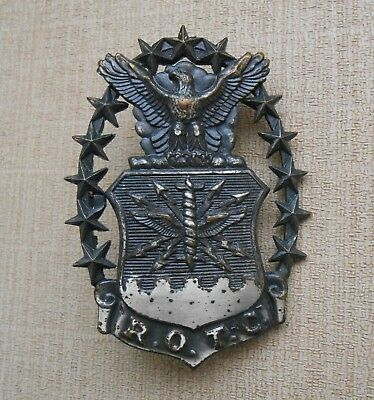 Old Vintage U.s. Air Force Usaf Military Rotc Screw-Back Insignia Hat Badge
