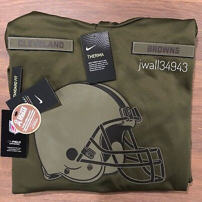 Nike CLEVELAND BROWNS 2018 Mens NFL Salute to Service Therma STS Hoodie Hoody