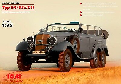 ICM 35538 Typ G4 (Kfz.21) WWII German Staff Car Scale Plastic Model Kit 1/35