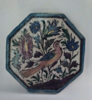 Antique Persian Iznik Ceramic Tile, Bird & Flowers, Unusual Octogon Shape