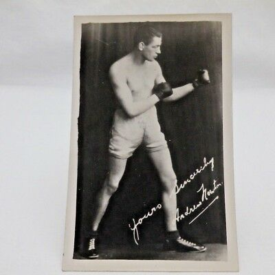 Original Old Vintage Boxing Postcard Real Photograph Andrew Newton Autographed