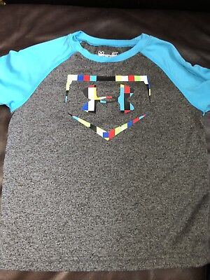 Boys Under Armour Gray And Blue Shortsleeve Home Plate Logo Raglan T-shirt 3T