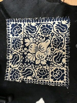 Antique Table Centerpiece Cloth From Blue And White Blanket Coverlet