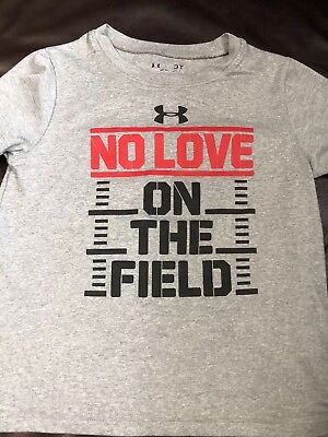 "Boys Under Armour Gray ""No Love On The Field"" T-shirt 3T"