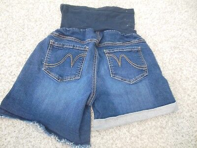 Indigo Blue Womens Maternity Denim Shorts Full Panel Size Medium Cuffed