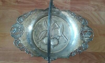 Victorian Pairpoint  Silver plate Cake Basket with Cherry Design