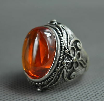 Collectable Handwork Old Miao Silver Carve Flower Inlay Crystal Tibet Rare Ring