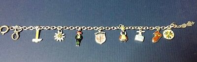 Vintage TYROL AUSTRIA Silver Colored Metal Charm Bracelet - Tyrolean Charms Hike