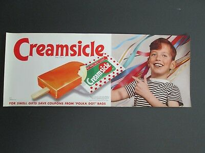 1960 Creamsicle   Vintage  Ice Cream Parlor  Paper Poster  NOS  Litho