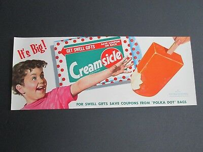 1958 Creamsicle  Ice Cream Parlor  Vintage  Small Paper Advertising Poster   NOS