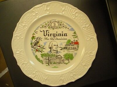 "Vintage State of Virginia Souvenir Collector Plate 10"" Mount Vernon & Capitol"
