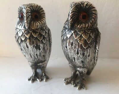 Antique Sterling Silver Owl Pepper & Salt Pots Cellars By Comyns