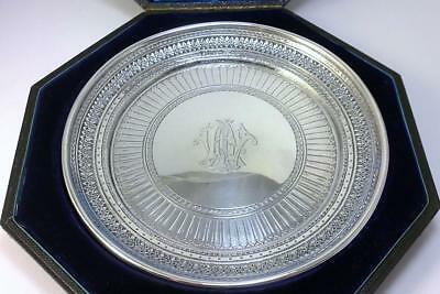 "Cased Victorian hallmarked Silver 6 ¼ ""  Waiter / Card Tray / Dish  –1880 (181g)"