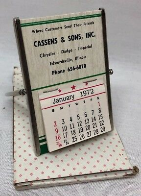 Vintage NOS 1972 Calendar Cassens & Sons Ill Chrysler Dodge Imperial W/ Mirror