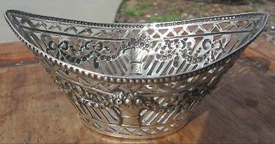 Fine Antique 800 German SILVER Basket / Bowl ORNATE Pierced Repousse 45 Grams