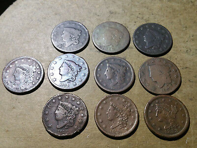 Lot Of 10  Large Cents