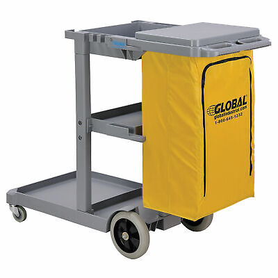 Janitor Cart Gray with 25 Gallon Vinyl Bag, Lot of 1