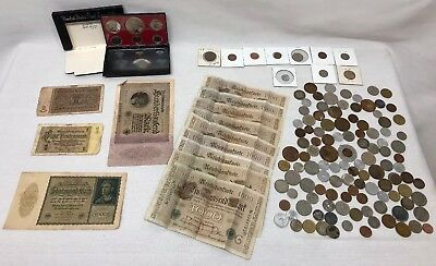 Lot Of Misc Coins & Paper Money Vintage Foreign Unknown