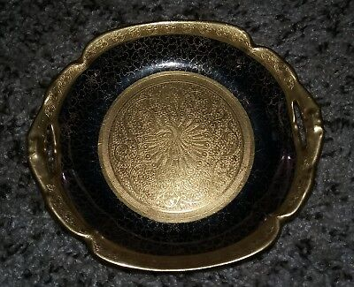 Pickard Cobalt And Gold Etched China Dish