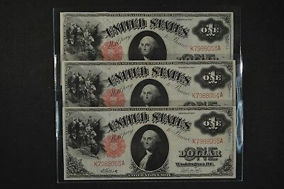 Lot of 3 1917 $1 Legal Tender Notes Consecutive Serial Numbers FR#37
