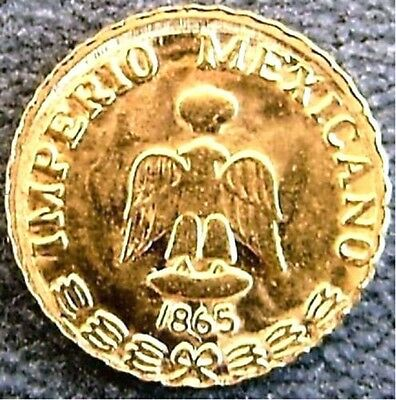 100 BRILLIANT UNCIRCULATED 1865 MEXICAN MAXIMILIAN PESOS mini gold coins unique,