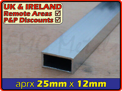 Aluminium Rectangular Tube ║ 25mm x 12 mm ║ box section,profile,pipe,rectangle