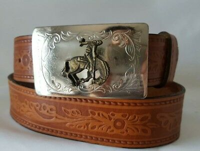 Western Steerhide Mens Brown Leather Belt w/ Metal Buckle Made in USA Size 34
