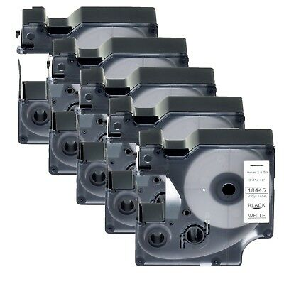 """5PK 18445 Black on White IND Vinyl Label 3/4"""" for DYMO LabelManager 500TS LW 450"""