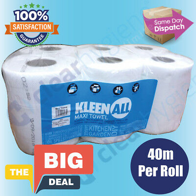 6xWhite Centrefeed Rolls 2ply Wiper Paper Towel Kitchen Roll (K)