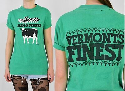 Vintage Ben & Jerry's T Shirt Vermont's Finest Mens S Womens M Green w Cows