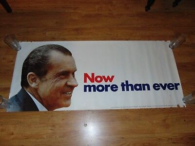 Large 24 X 54 Original 1972 President Richard Nixon Re-Election Campaign Poster