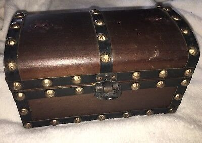 "Antique Wooden Chest Handmade in British Hong Kong 8.5"" x 5"" x 4.5""  Wood Box"