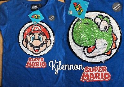 Super Mario Reversible Sequin T Shirt Boys Girls 6-7 Years Bnwt Blue Kids' Clothes, Shoes & Accs.