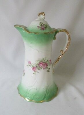 Vintage Hand Painted Ceramic Hot Chocolate or Coffee Pot ~ Wreath Mark ~ Nippon?
