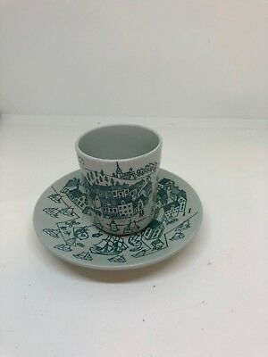 Vintage  Denmark Nymolle Hoyrup Art Faience Plate & Matching Cup # 4006