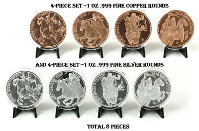 1 oz Silver and Copper Rounds - Four Horsemen of the Apocalypse - Complete Set